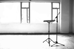 music stand empty room