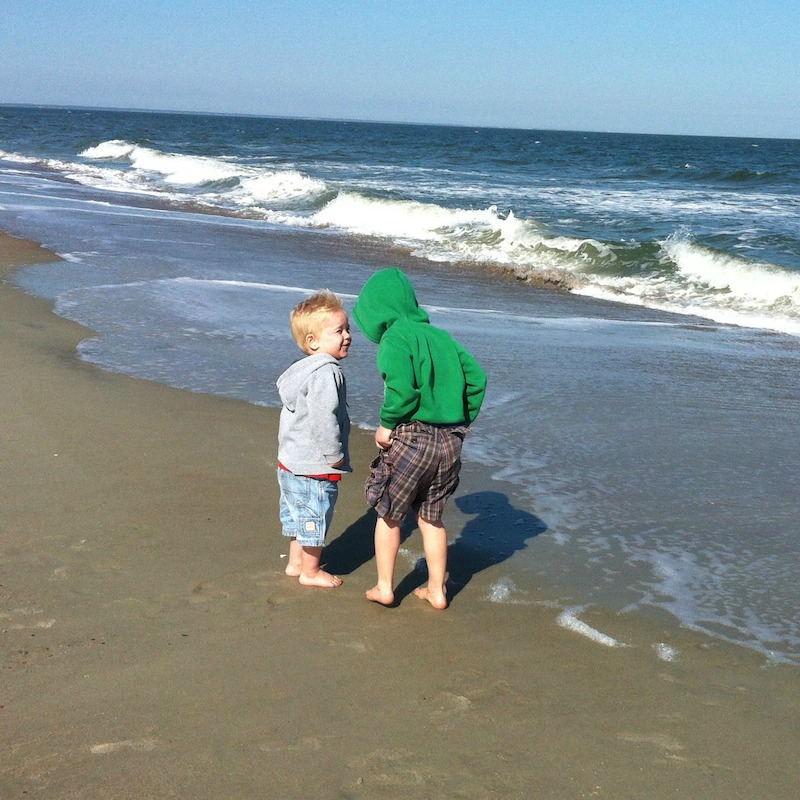 tybee island - boys at ocean - edited